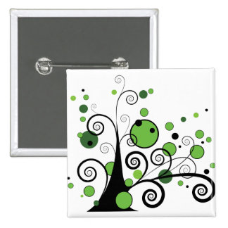 Abstract Tree Pinback Button