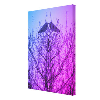 Abstract tree crow bird print blue purple