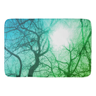 Abstract  tree   green blue bath mat