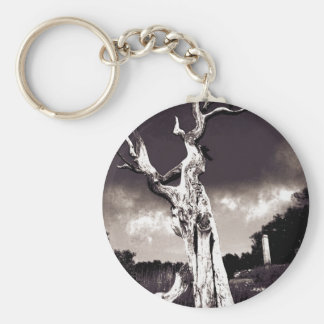 Abstract Tree Basic Round Button Keychain