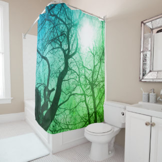 Abstract  tree  Shower Curtain green blue