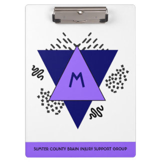 Abstract Triangles and Doodles Monogram Clipboard