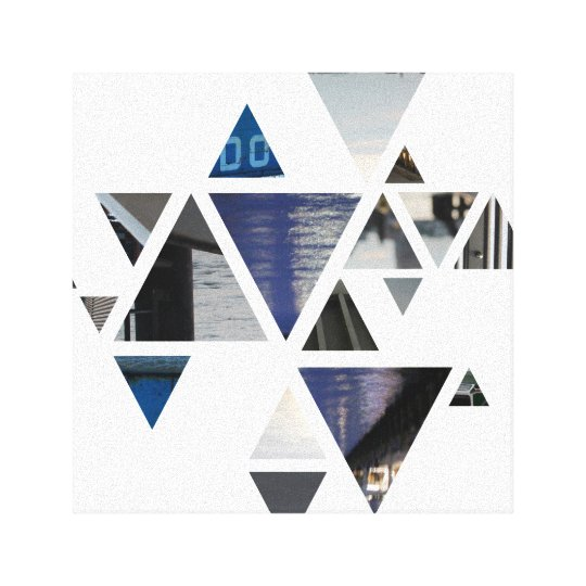 abstract triangles blue canvas print