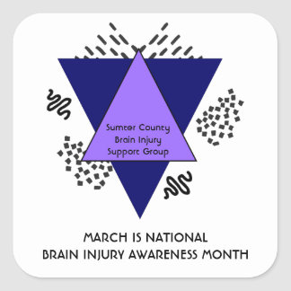 Abstract Triangles Doodles Brain Injury Awareness Square Sticker