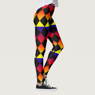 Abstract Triangles, Rainbow Colour Ladies Leggings