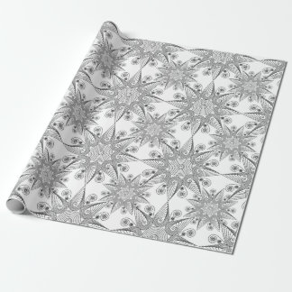 Abstract tribal black snowflakes wrapping paper