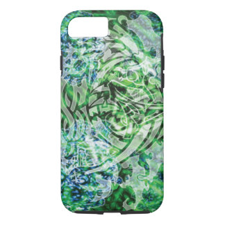 Abstract Tribal Digital Art, Green & White iPhone 8/7 Case