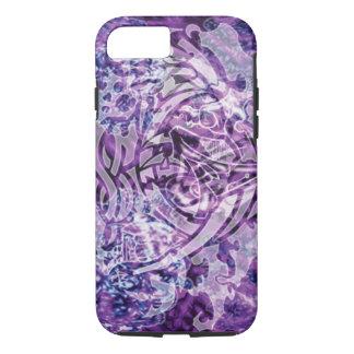 Abstract Tribal Digital Art, Purple & White iPhone 7 Case