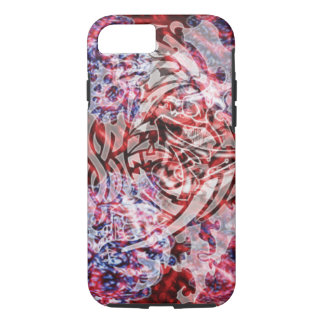 Abstract Tribal Digital Art, Red & White iPhone 7 Case