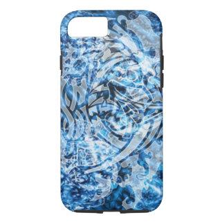 Abstract Tribal Graffiti Digital Art, Blue & White iPhone 7 Case