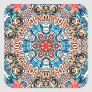 Abstract Tribal Mandala Square Sticker