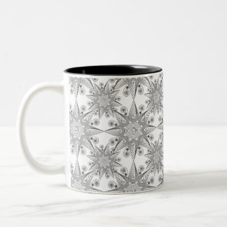 Abstract tribal snowflake on white background Two-Tone coffee mug