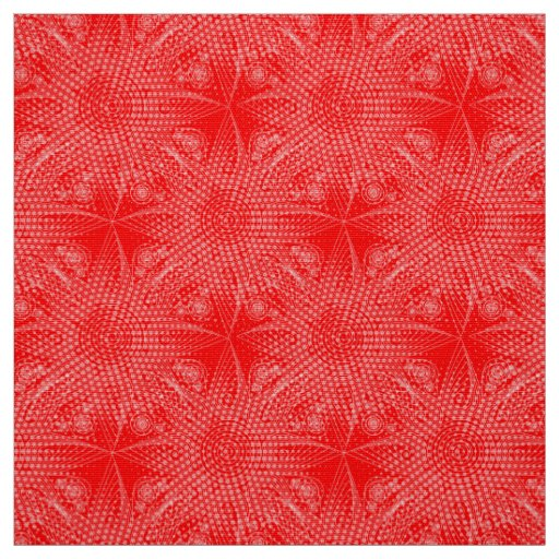 Abstract tribal snowflake pattern on red backgroun fabric