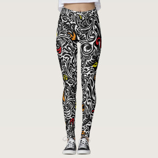 Abstract Tribal Swirls Pattern Leggings
