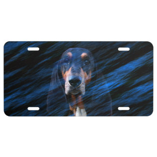 Abstract tricolor Basset Hound License Plate