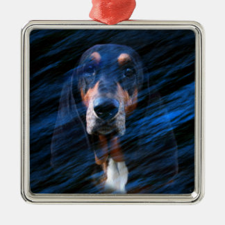 Abstract tricolor Basset Hound Metal Ornament