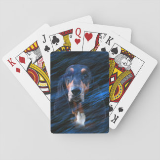 Abstract tricolor Basset Hound Playing Cards