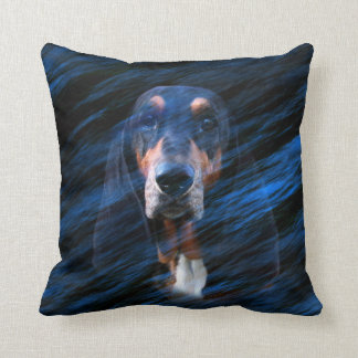 Abstract tricolor Basset Hound Throw Pillow