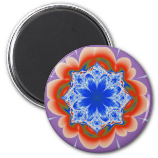 Abstract Tropical Blue Flower Plant 2 Inch Round Magnet