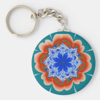 Abstract Tropical Blue Flower Plant Basic Round Button Keychain