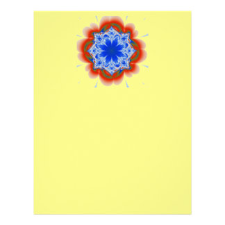 Abstract Tropical Blue Flower Plant Customized Letterhead