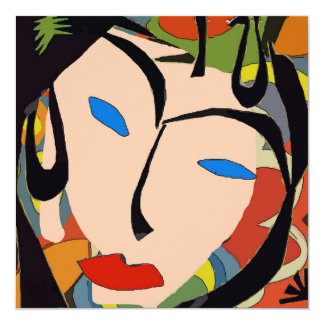 Abstract Tropical Face PArty 5.25x5.25 Square Paper Invitation Card