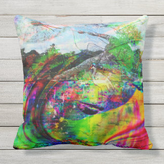 Abstract Tropical Fantasy Outdoor Pillow