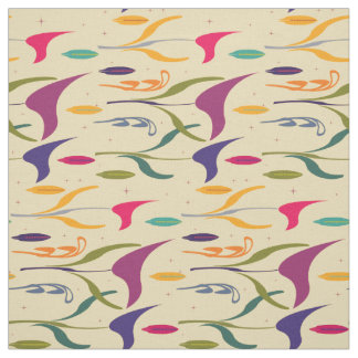 Abstract Tropical Light Calla Lily Beige Pattern Fabric