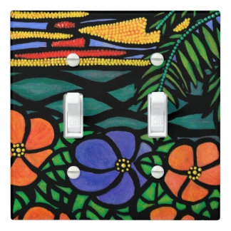 Abstract Tropical Sunset Flowers Light Switch Cover