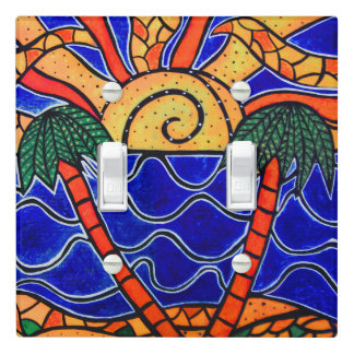 Abstract Tropical Sunset Palm Trees Light Switch Cover