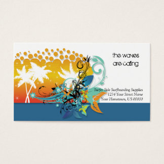 Abstract Tropical Surfing Business Card
