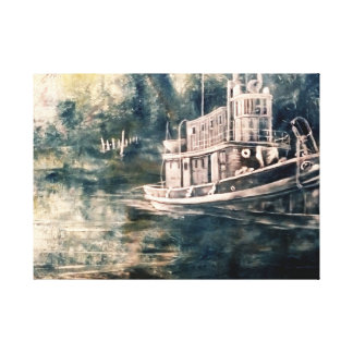 Abstract Tugboat Oil painting on canvas