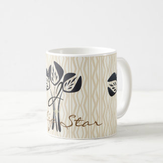 Abstract Tulip Star Patterned Monogrammed Mug
