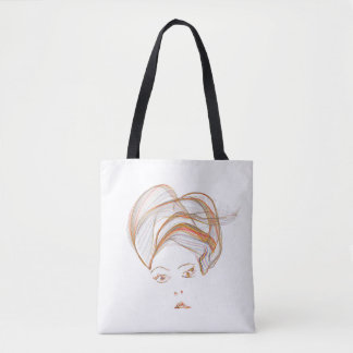 Abstract Turbaned Lady Tote