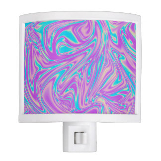 Abstract Turquoise and Purple Liquid Whirl Pattern Nite Lights