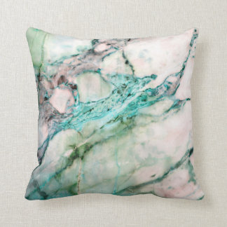 Abstract Turquoise Aquamarine White Mint Marble Throw Pillow