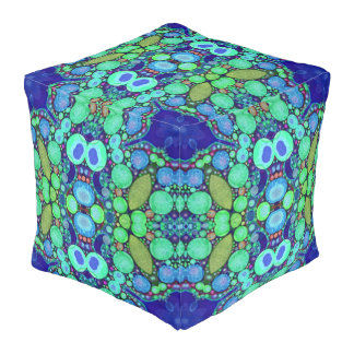 Abstract Turquoise Custom Sturdy Cube Poufs