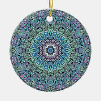 Abstract Turquoise Mandala Ceramic Ornament