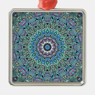 Abstract Turquoise Mandala Metal Ornament