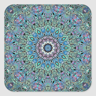 Abstract Turquoise Mandala Square Sticker
