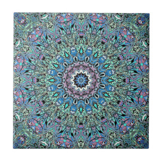 Abstract Turquoise Mandala Tiles