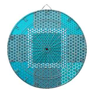 Abstract Turquoise Pattern Dartboard