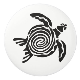 ABSTRACT TURTLE ON A CERAMIC KNOB