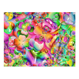 Abstract Twisted Colour Flowers Postcard