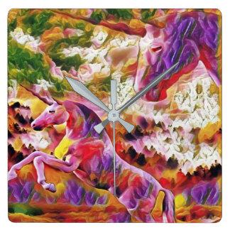 abstract unicorns square wall clock
