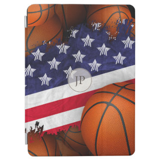 abstract United States flag with basketballs