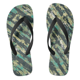 Abstract Urban Distorted Lines Background Blue Flip Flops