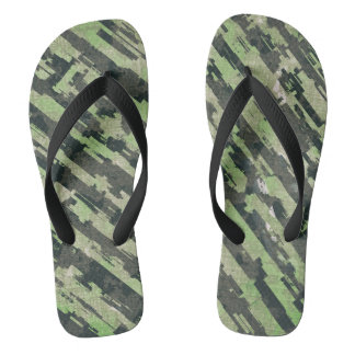 Abstract Urban Distorted Lines Background Green Flip Flops