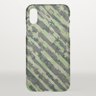 Abstract Urban Distorted Lines Background Green iPhone X Case