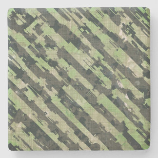 Abstract Urban Distorted Lines Background Green Stone Coaster